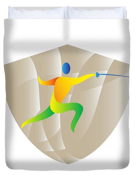 Fencing Side Shield Retro Duvet Cover