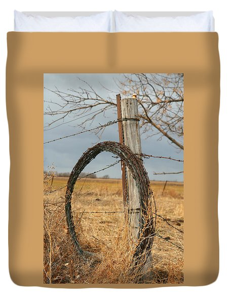 Duvet Cover featuring the photograph Fencing With My Dad by Shirley Heier