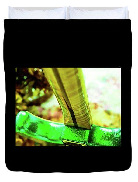 Custom Shop Stratocaster In Rare Green Sparkle Duvet Cover