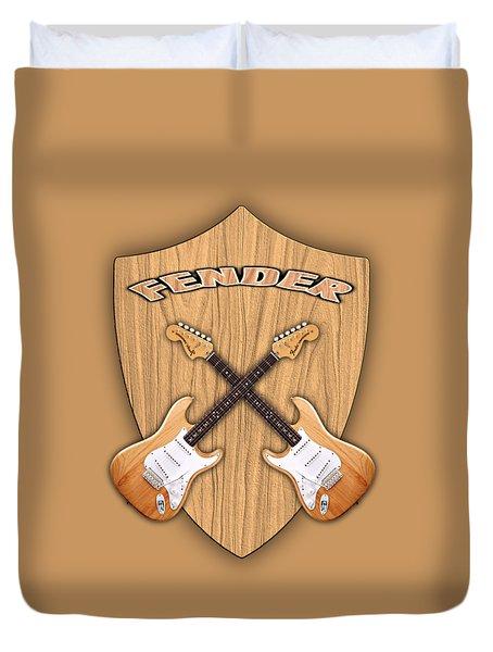 Fender Stratocaster Natural Color Shield Duvet Cover by Doron Mafdoos