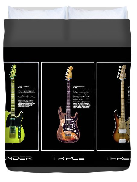 Duvet Cover featuring the photograph Fender Triple Threat by Peter Chilelli