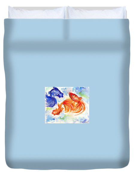 Duvet Cover featuring the painting Feng Shui Fishes by Asha Sudhaker Shenoy