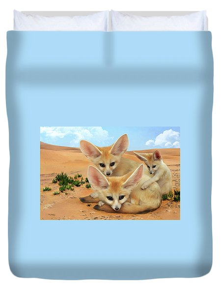 Duvet Cover featuring the digital art Fennec Foxes by Thanh Thuy Nguyen