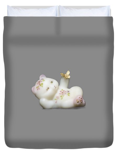 Duvet Cover featuring the pyrography Fenton Bear Cutout by Linda Phelps