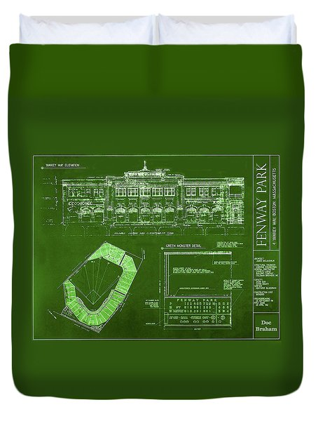 Fenway Park Blueprints Home Of Baseball Team Boston Red Sox Duvet Cover