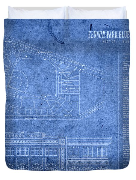 Fenway Park Blueprints Home Of Baseball Team Boston Red Sox On Worn Parchment Duvet Cover by Design Turnpike