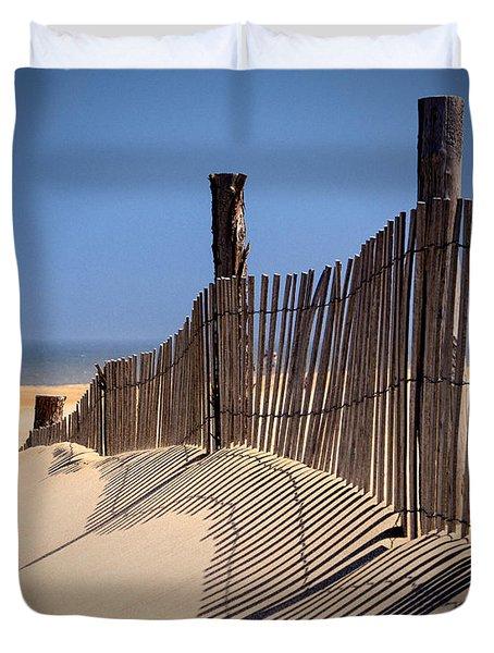 Fenwick Dune Fence And Shadows Duvet Cover