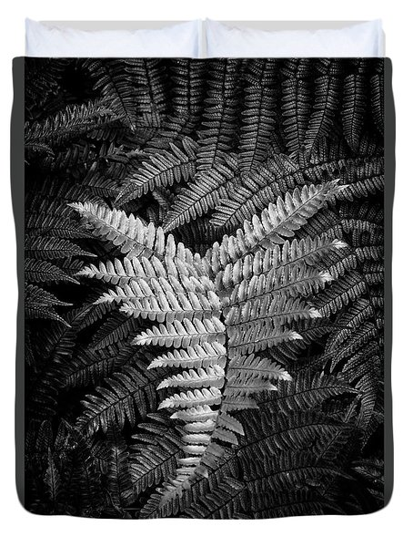 Fern In Black And White Duvet Cover