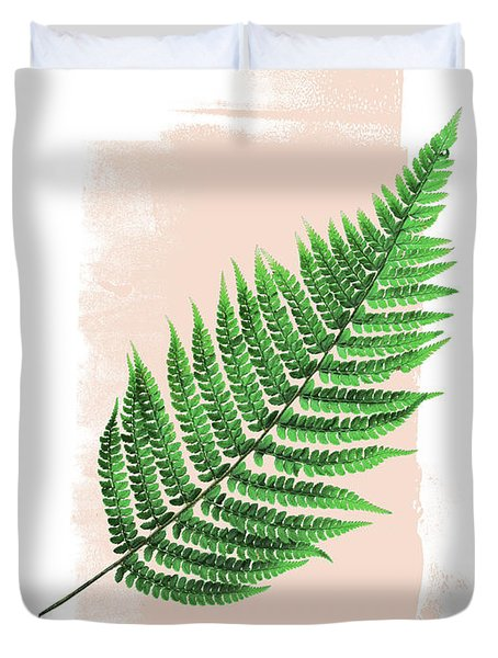 Fern Leaf On Pink Duvet Cover