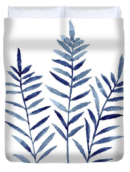 Fern Plant Print Navy Blue Botanical Wall Decor, Abstract Home Garden Art Print, Duvet Cover
