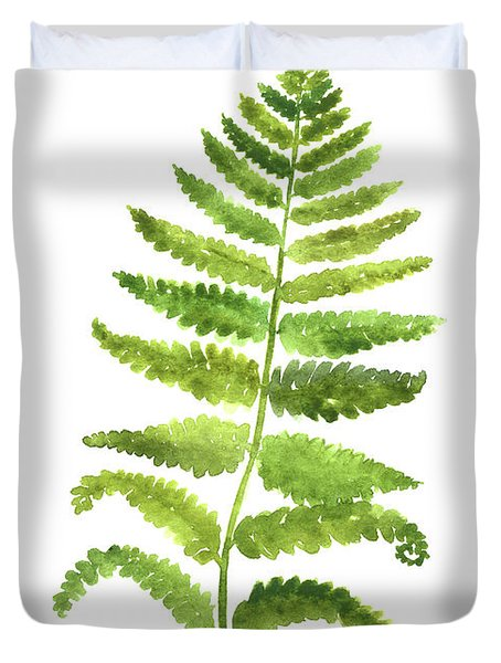 Fern Wall Poster, Green Kitchen Decor, Botanical Floral Painting Duvet Cover
