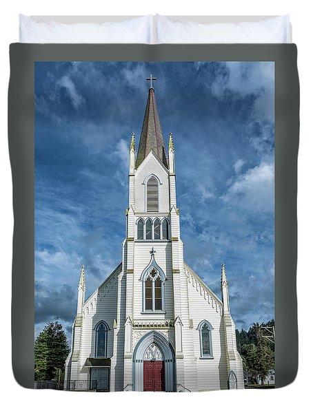 Duvet Cover featuring the photograph Ferndale Catholic Church by Greg Nyquist