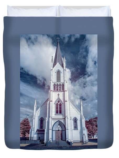 Ferndale Church In Infrared Duvet Cover by Greg Nyquist