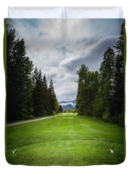 Duvet Cover featuring the photograph Fernie Tee Box by Darcy Michaelchuk