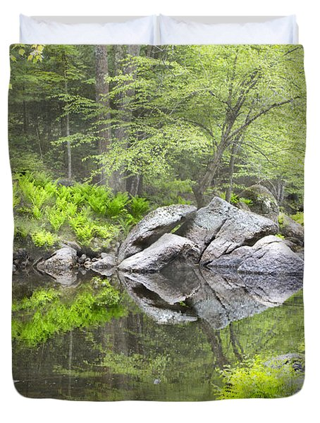 Ferns And Stream Duvet Cover
