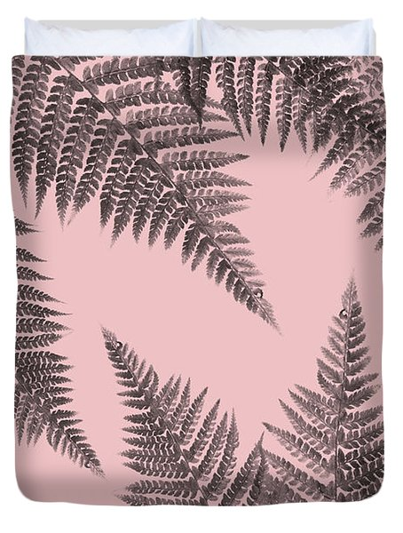 Ferns On Blush Duvet Cover