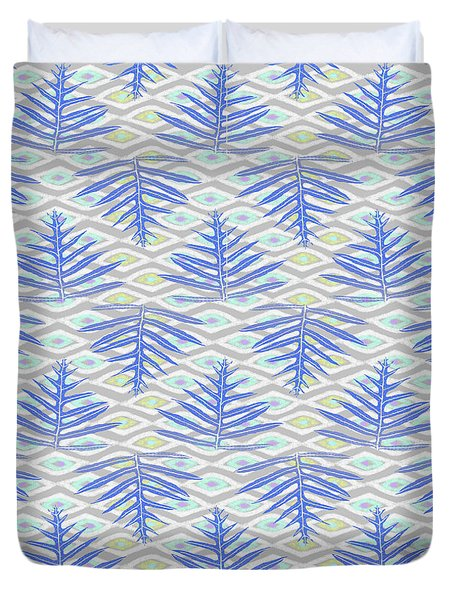 Ferns On Diamonds Indigo Gray Duvet Cover