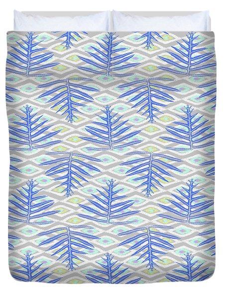 Ferns On Diamonds Indigo Gray Duvet Cover