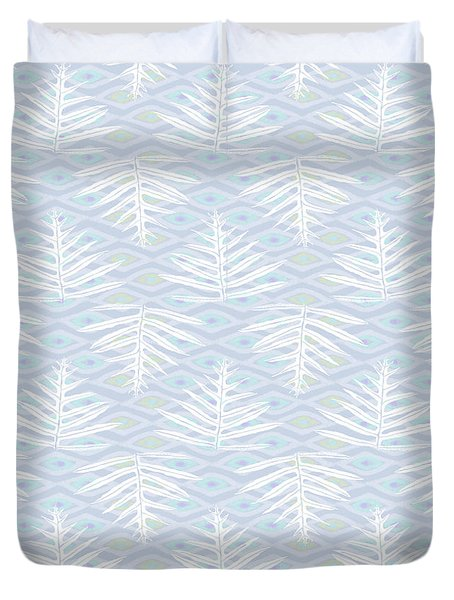 Ferns On Diamonds Lilac Gray Duvet Cover