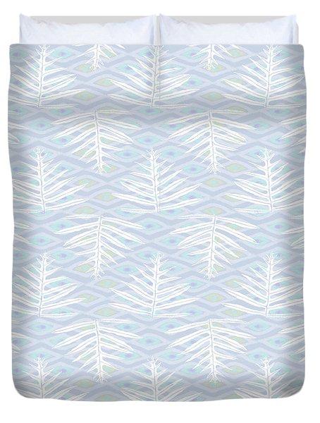 Ferns On Diamonds Lilac Gray Duvet Cover