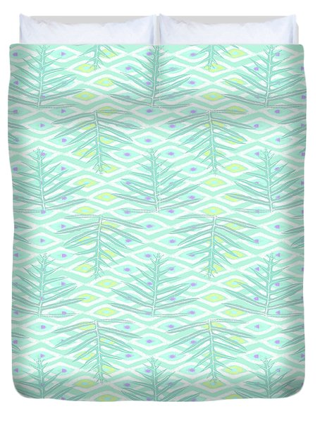 Ferns On Diamonds Pale Teal Duvet Cover