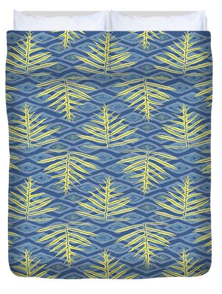 Ferns On Diamonds Yellow Indigo Duvet Cover