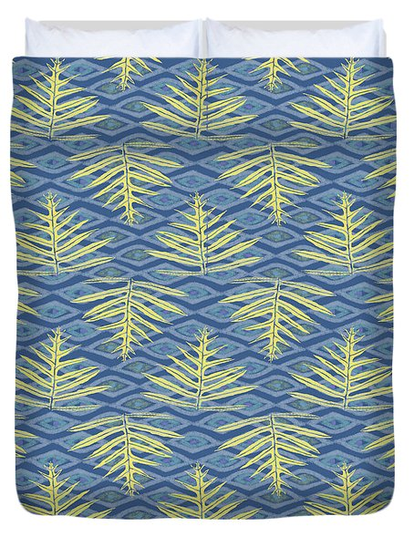 Ferns On Diamonds Yellow Indigo Duvet Cover