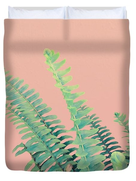 Ferns On Pink Duvet Cover