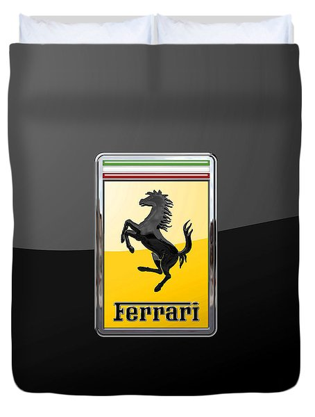 Ferrari - 3 D Badge On Black Duvet Cover