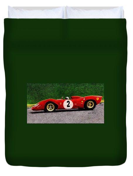 Ferrari 312p Pedro Rodriguez 1969 Duvet Cover by Ugo Capeto