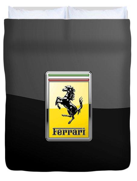 Ferrari 3d Badge- Hood Ornament On Black Duvet Cover
