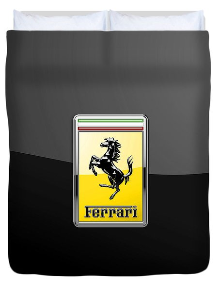Ferrari 3d Badge- Hood Ornament On Black Duvet Cover by Serge Averbukh