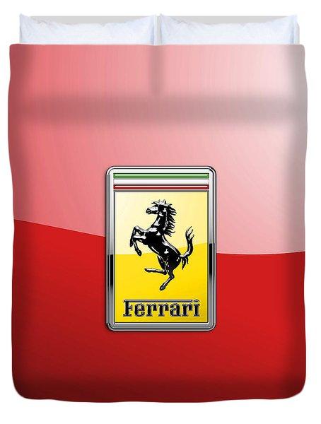 Ferrari 3d Badge-hood Ornament On Red Duvet Cover
