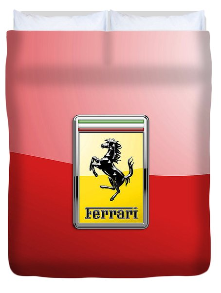 Ferrari 3d Badge-hood Ornament On Red Duvet Cover by Serge Averbukh