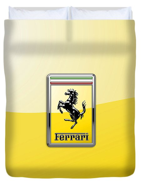 Ferrari 3d Badge- Hood Ornament On Yellow Duvet Cover by Serge Averbukh