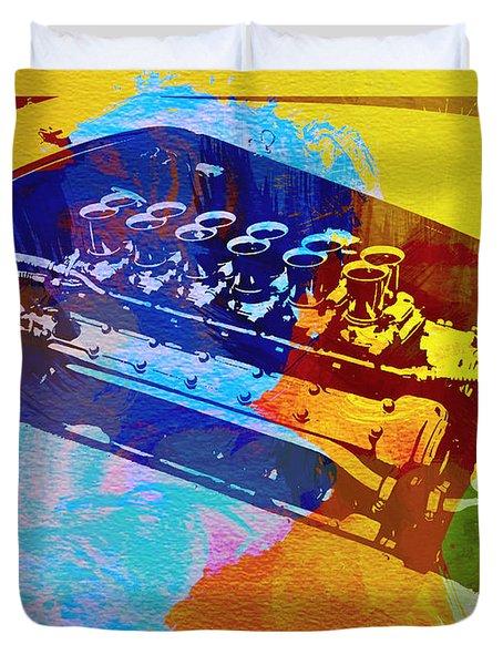 Ferrari Engine Watercolor Duvet Cover by Naxart Studio
