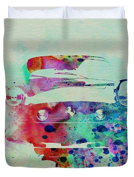 Ferrari Front Watercolor Duvet Cover by Naxart Studio