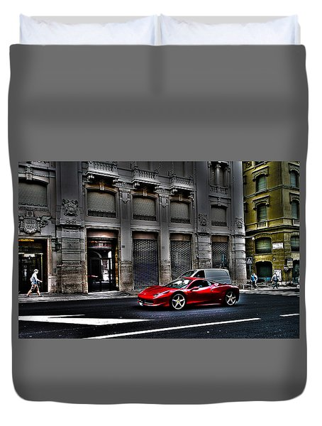 Ferrari In Rome Duvet Cover by Effezetaphoto Fz