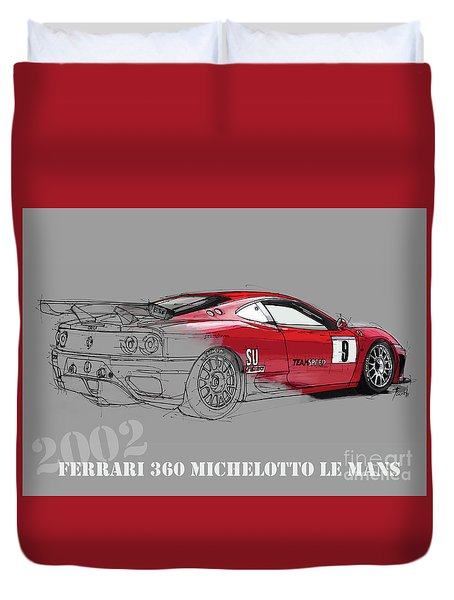 Ferrari Michelotto Race Car. Handmade Drawing. Number 9 Le Mans Duvet Cover