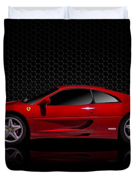 Ferrari Red - 355  F1 Berlinetto Duvet Cover by Douglas Pittman