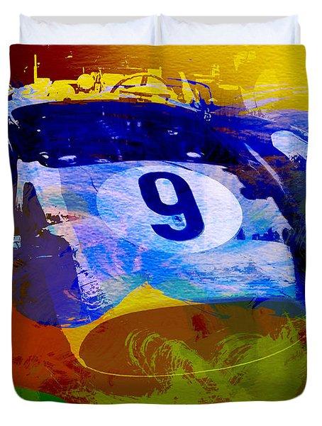 Ferrari Testarossa Watercolor Duvet Cover by Naxart Studio