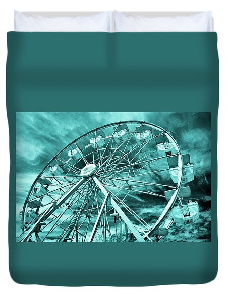 Ferris Wheel Blues Duvet Cover