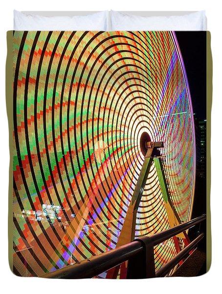 Ferris Wheel  Closeup Night Long Exposure Duvet Cover