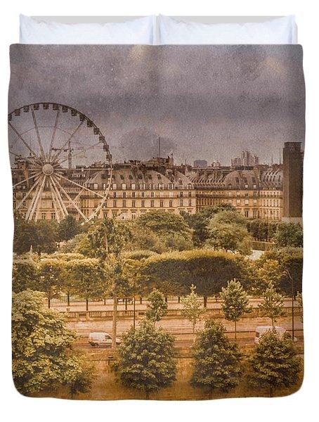 Paris, France - Ferris Wheel Duvet Cover