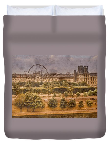 Paris, France - Ferris Wheel Duvet Cover