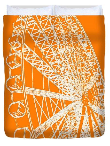Ferris Wheel Silhouette Orange White Duvet Cover