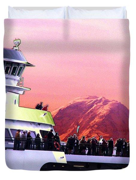 Ferry And Da Mountain Duvet Cover by Tim Allen