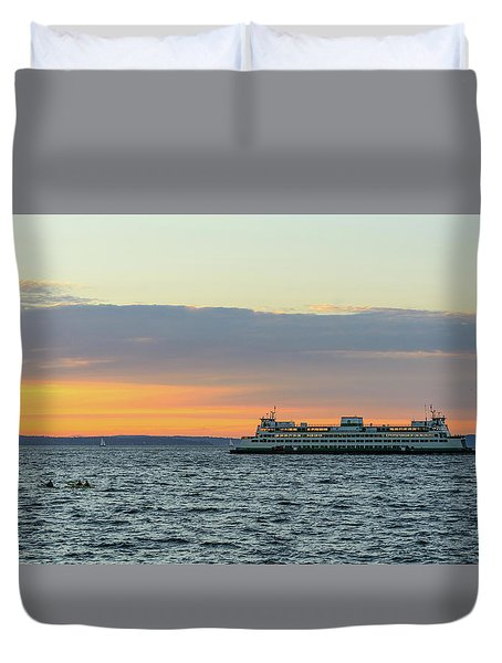 Ferry And Hayakers At Alki Beach Duvet Cover
