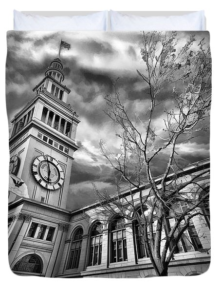 Ferry Building Black  White Duvet Cover