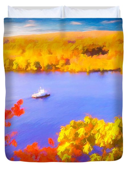 Ferry Crossing Connecticut River. Duvet Cover